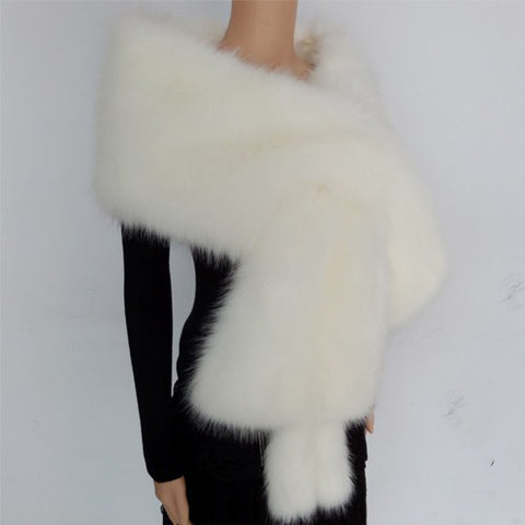 Atarah Long and Thick Faux Fur Shawl
