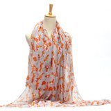 Vintage Fox Printed Long Soft Cotton Voile Scarf