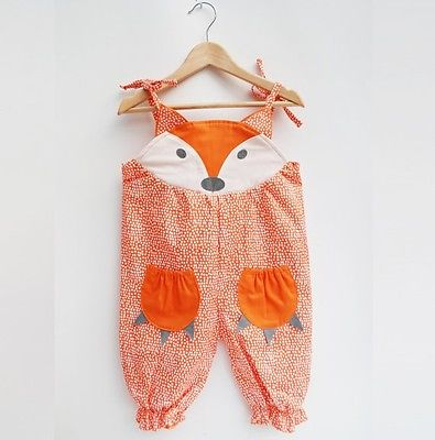 Cutie Fox Sleeveless Jumpsuit for Baby Girls