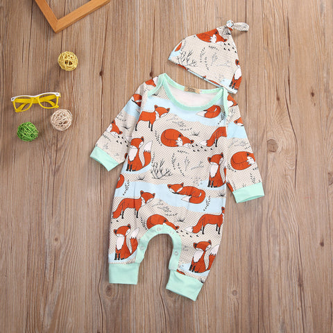 Unisex Fox Print Baby Hat and Romper Set