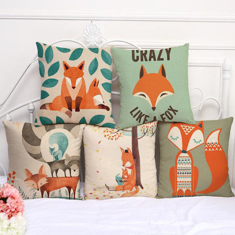 Hand Painted fox Cushions Cover 45x45cm
