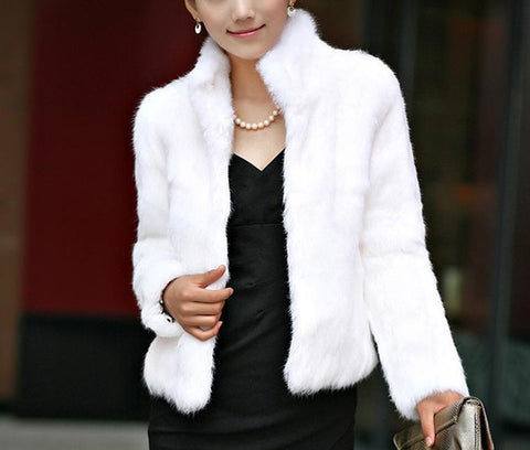 Elegant Faux Fur Ladies Fluffy Coat
