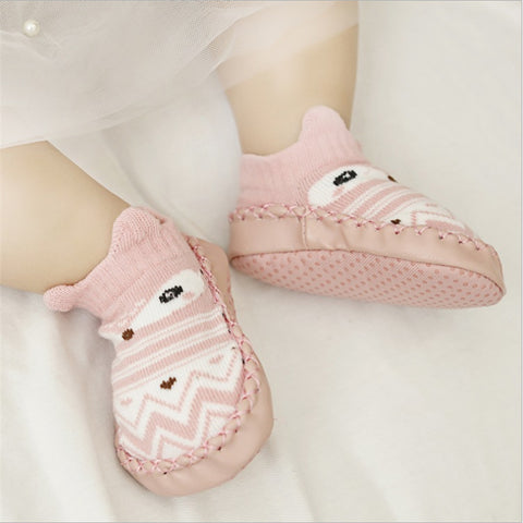 Cute sock shoe with PU leather sole
