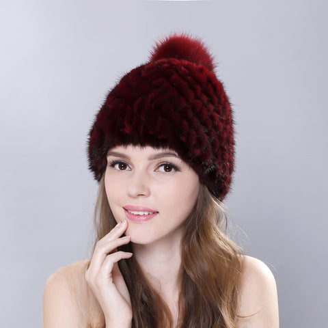 Cute Faux Fur Pom Pom Knitted Cap