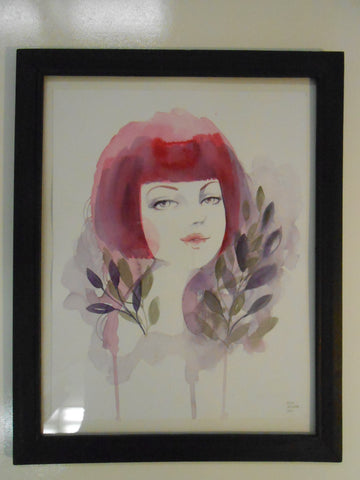 "Alice Koswara "" Sherry "" Watercolor Framed Painting"