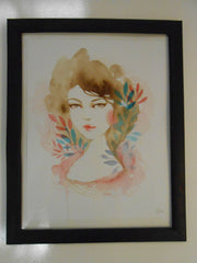 "Alice Koswara "" Maven "" Watercolor Framed Painting"