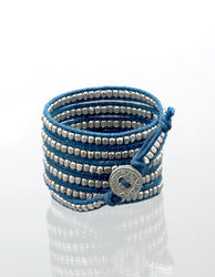 Twilight Silver on Blue Wrap Bracelet