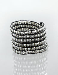 Shooting Star Black & Silver Wrap Bracelet