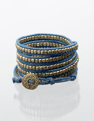 Twilight Gold On Blue Wrap Bracelet