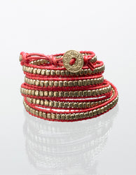 Red & Gold Wrap Bracelet