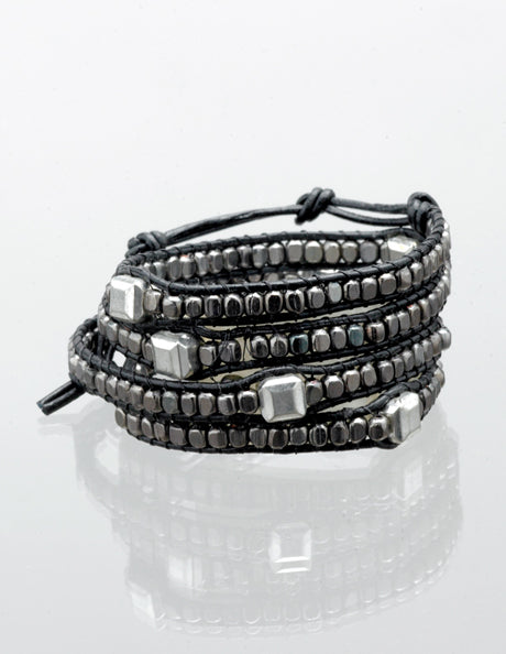 Black and Square Silver Bead Wrap Bracelet