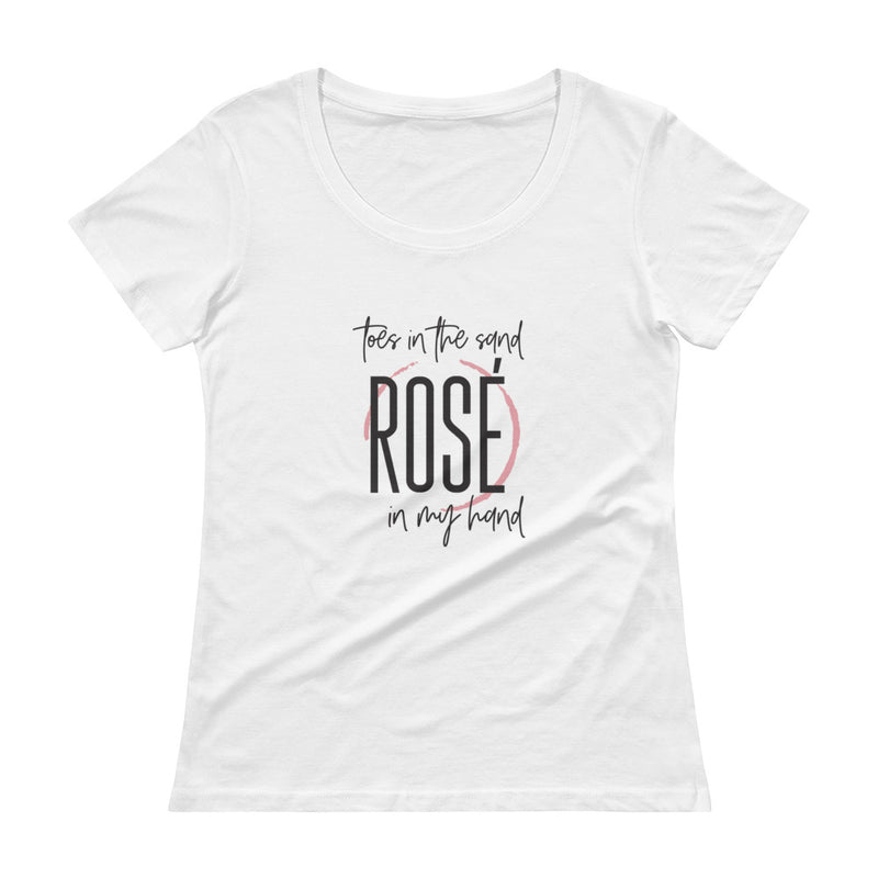 Toes In The Sand Rosé In My Hand Ladies' Scoopneck T-Shirt
