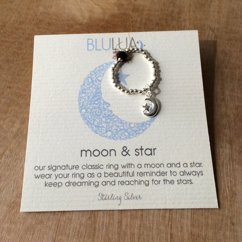 Moon & Star Stretch Ring