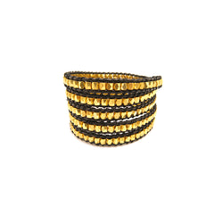 Black & Gold Wrap Bracelet
