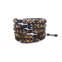 Tiger's Eye Men's Wrap Bracelet