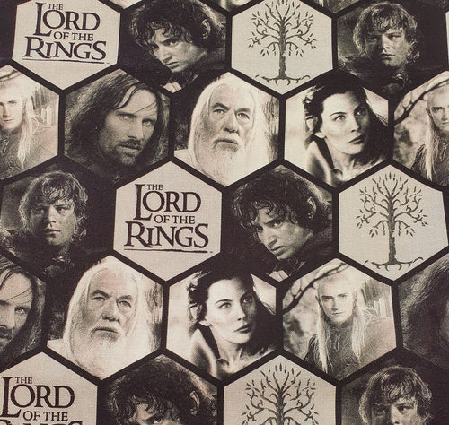 Lord of the Rings Cotton Fabric - Characters in Polygons