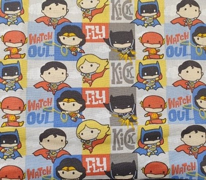 DC Nursery Cotton Print - Characters on Blocks - per half metre