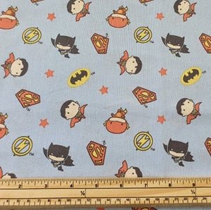 DC Nursery Cotton Print - Characters on Blue - per half metre