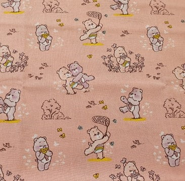 Care Bears Nursery Cotton Print - Care Bears and Flowers on Peach