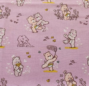 Care Bears Nursery Cotton Print - Care Bears and Flowers on Lilac