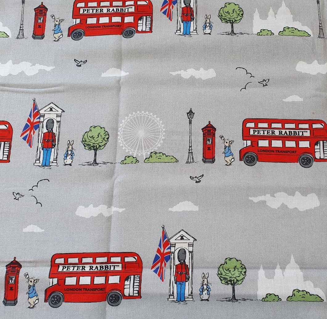 Peter Rabbit Cotton Print - London Street Grey