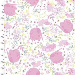 Itty Bittys Fabric Collection - Tossed Elephants