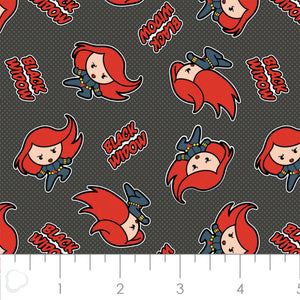 Marvel Kawaii - Black Widow - Cotton Print Fabric