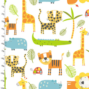 Stay Wild Fabric Collection - Multi Animal On White