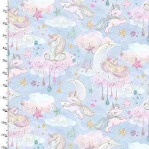 Unicorn Sparkle Fabric Collection - Clouds - per half metre