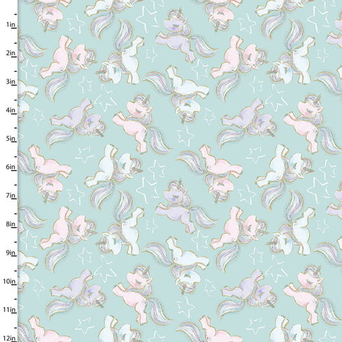 Unicorn Sparkle Fabric Collection - Prancing zunicorns - per half metre