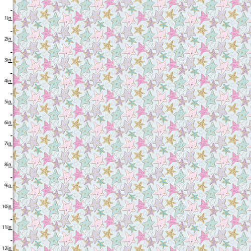 Unicorn Sparkle Fabric Collection - Stars - per half metre