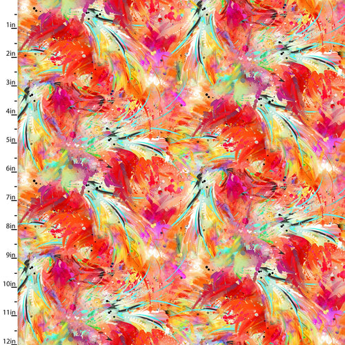 Sassier Animals - Flamingo Feathers - per half metre