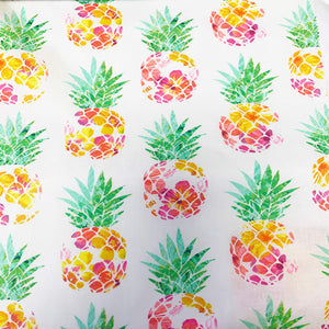 Tropicale - Pineapples on White - per half metre