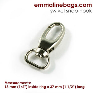 "Swivel Snap Hook: Designer Profile (2 Pack) - 1/2"" (12mm) - Nickel"