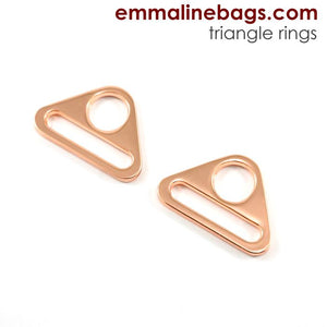 "Triangle Rings: 1"" (25mm) (2 Pack) - Copper - Emmaline Bags"