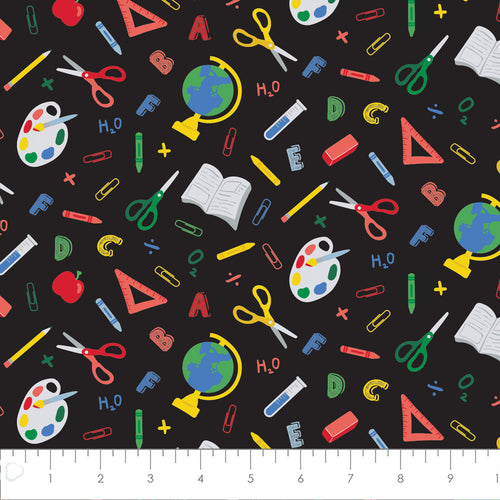 Teachers Rule Cotton Print - Back to School in Black