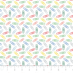 Teachers Rule Cotton Print - Paperclips in Multi