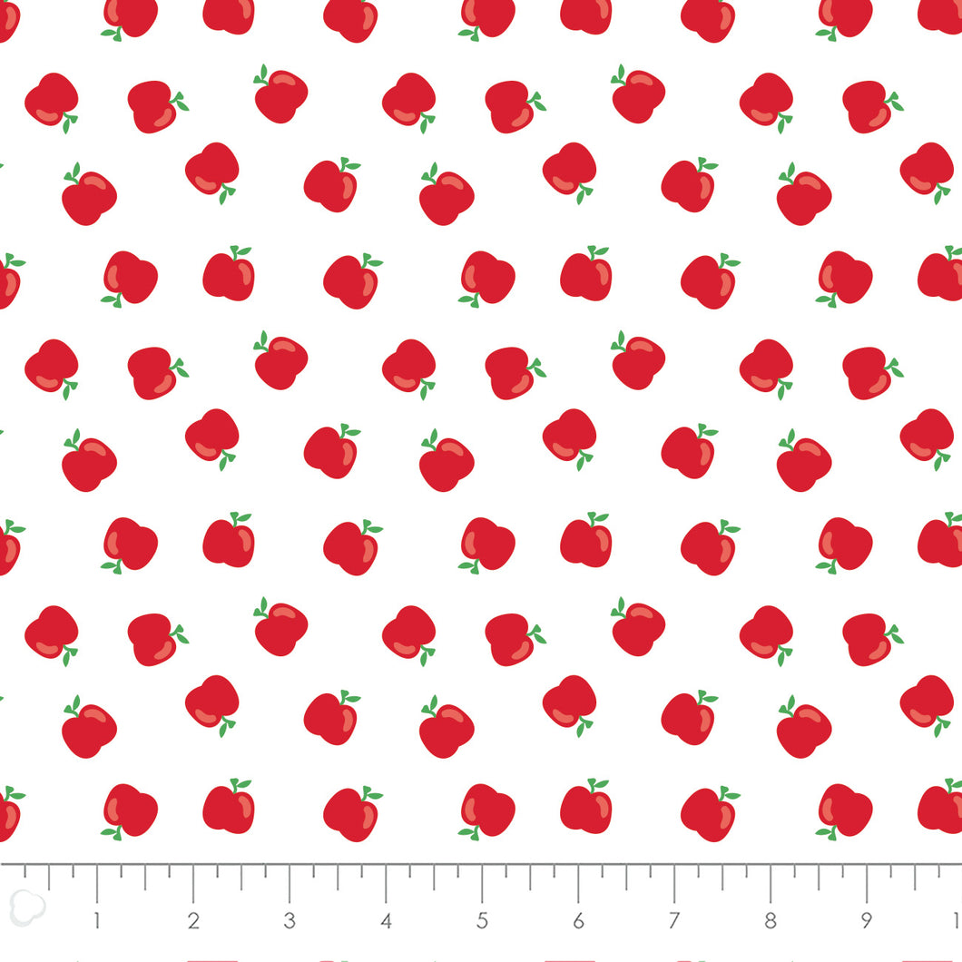 Teachers Rule Cotton Print - An Apple a Day in White