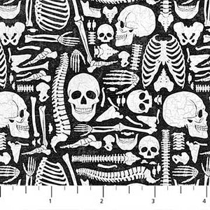 Elegantly Frightful - Skeleton Parts - per 1/4 metre