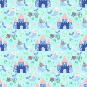 Mermaid Kitties Fabric Collection - Kitties and Castles