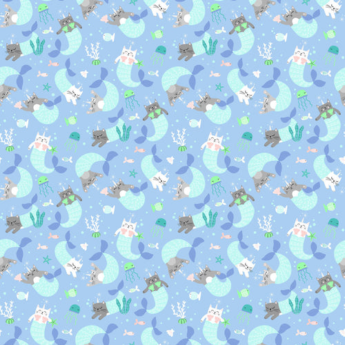Mermaid Kitties Fabric Collection - Mermaid Kitties on Blue