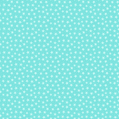 Mermaid Kitties Fabric Collection - Stars on Aqua