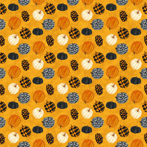 Raven's Claw Fabric Collection - Pumpkins on Orange