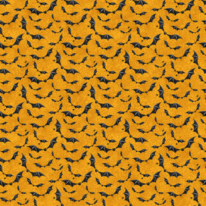 Raven's Claw Fabric Collection - Bats on Orange