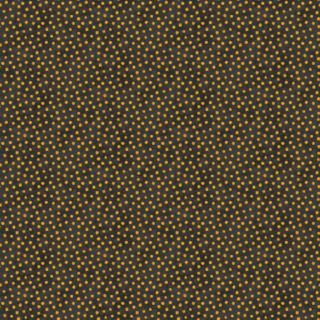 Raven's Claw Fabric Collection - Orange Spots on Black