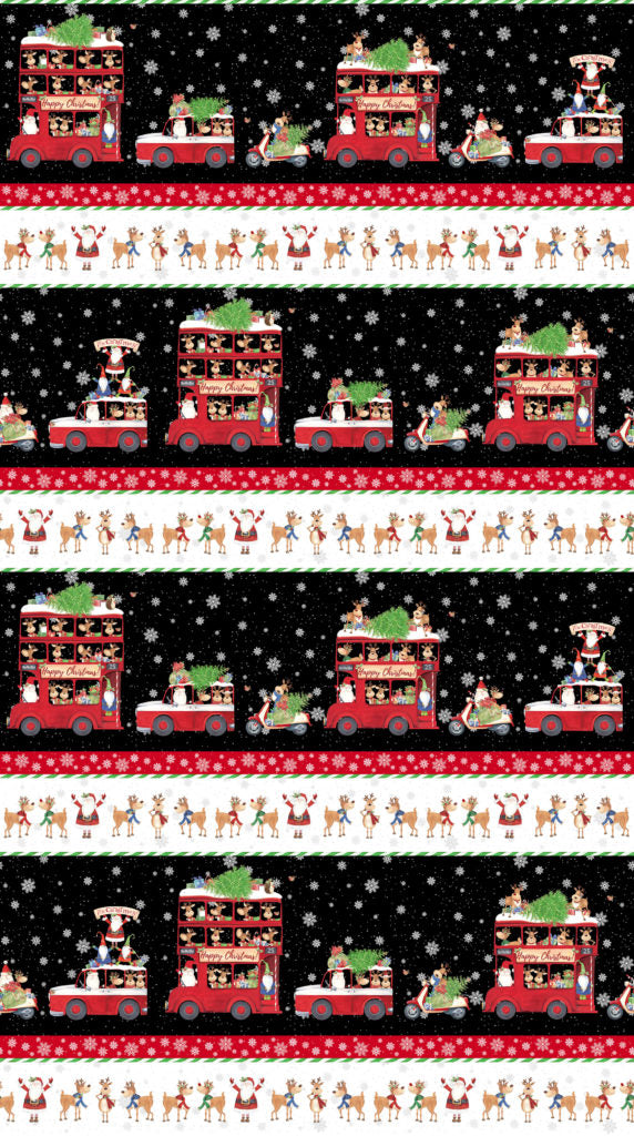 Double Decker Christmas Fabric Collection - Stripe