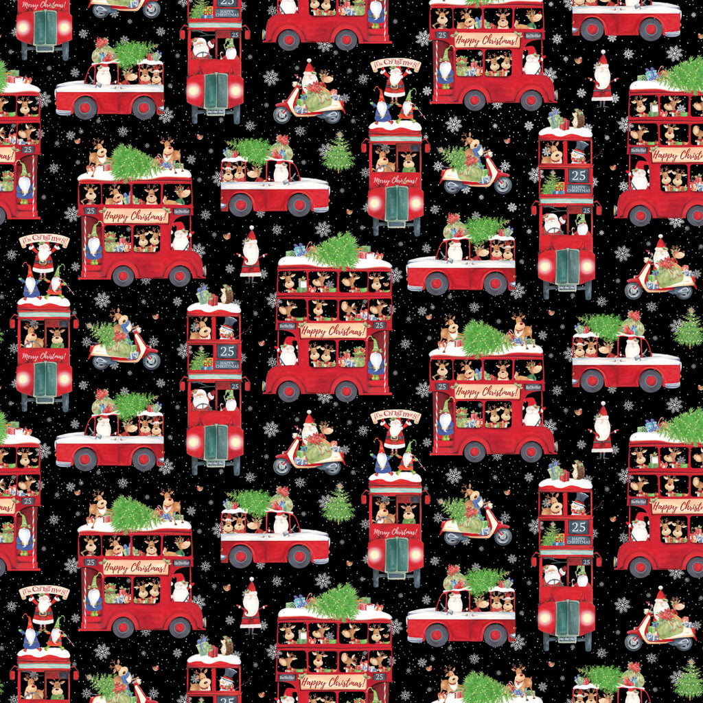 Double Decker Christmas Fabric Collection - Double Deckers on Black