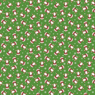 Double Decker Christmas Fabric Collection - Santa on Green