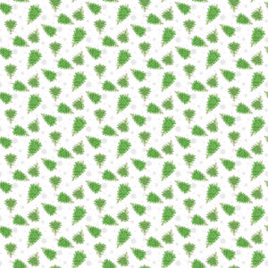 Double Decker Christmas Fabric Collection - Christmas Trees on White