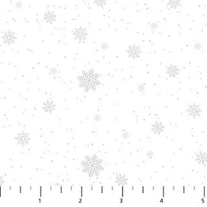 Double Decker Christmas Fabric Collection- Snowflakes on White